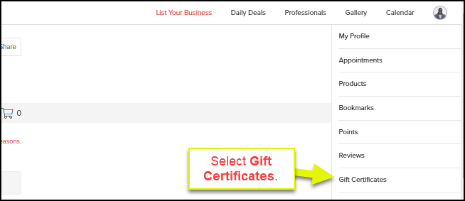 how to redeem a service with a gift certificate for clients of a